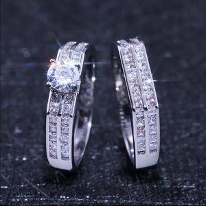 New Women's 925 Silver Diamond 2 pc Ring